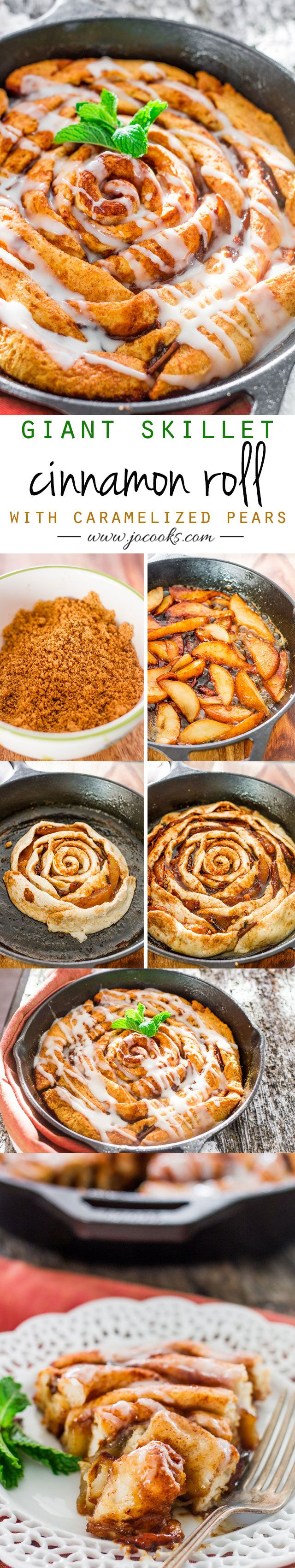 Giant Skillet Cinnamon Rolls with Caramelized Pears – It's gooey, it's caramelly, it's got fruit, so sit back, relax, and enjoy.
