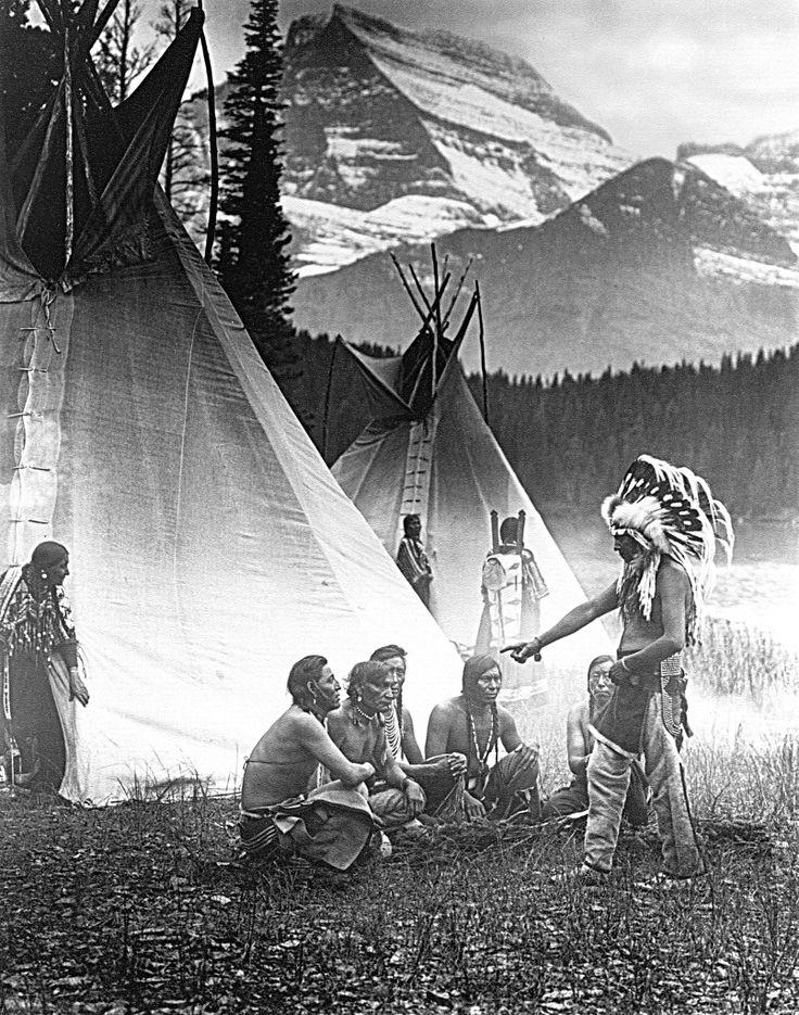 Piegan Council. Montana. 1912. Photo by Roland W. Reed. — with Diane Bulls