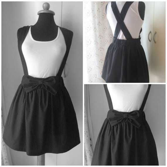 Full Mini Skirt with Suspenders and Bow by vickytzo on Etsy, $30.00, LOL the suspenders are awesome!