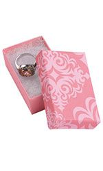 "Pink Damask Jewelry Box with Cotton 2½""  x 1½""  x ⅞"""