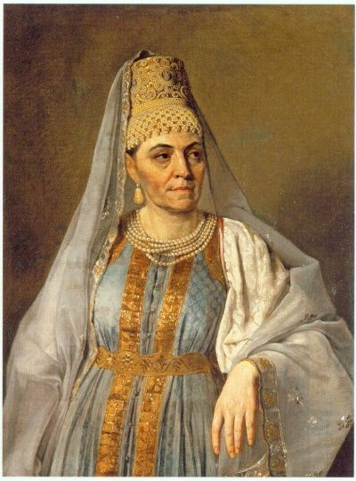 Portrait of Marfa Venetsianova in Russian dress  by Alexey Venetsianov,1828