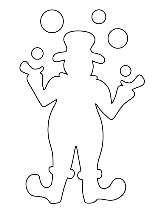 Clown pattern. Use the printable outline for crafts, creating stencils, scrapbooking, and more. Free PDF template to download and print at http://patternuniverse.com/download/clown-pattern/