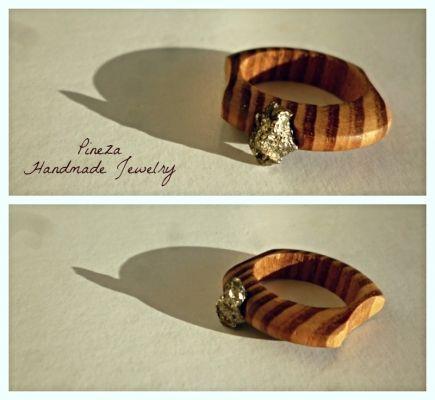 Pyrite | myartshop Ξύλινο δαχτυλίδι με Σιδηροπυρίτη