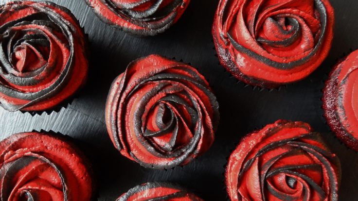 Two-tone rose red velvet cupcakes with whipped cream cream cheese frosting