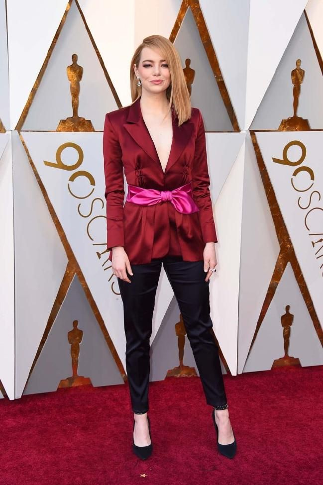 Emma Stone wearing Louis Vuitton at the 90th Annual Academy Awards.