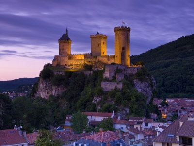 A beautiful shot of the old Cathar stronghold, the Chateau de Foix in the Ariège, central French Pyrenees