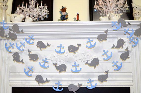Whales and anchors garland, baby shower decor, baby boy birthday garland, nautical garland decoration