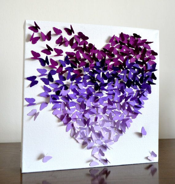 Purple Ombre Classic Butterfly Heart/ 3D Butterfly Wall Art / Engagement Gift / Unique Wedding Gift / Gift for Her / Nursery / Girls Room on Etsy, $95.00: