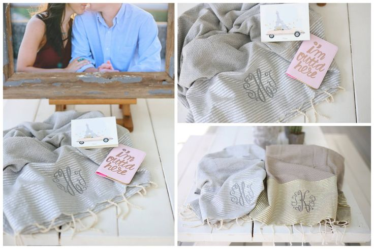 Newlywed equals NEW Monogrammed... give them their  first and surely most versatile gift with their new monogram.   This customer sent their newlyweds off on their honeymoon well prepared with new fouta in tow.