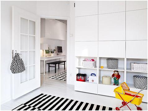 Black and white kids room - great storage