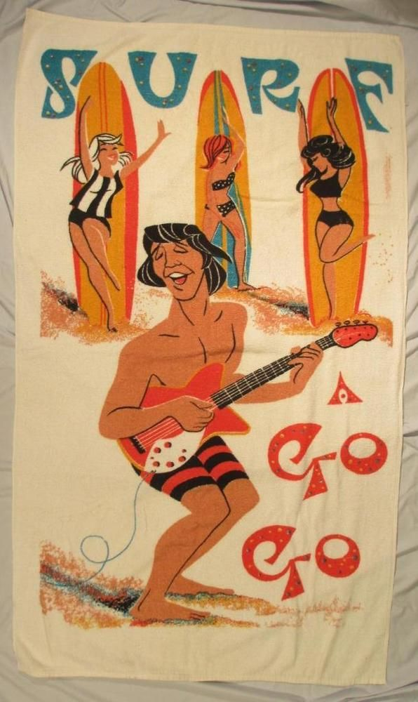 Vintage SURF A GO GO Beach Party Towel 1960s Rock & Roll Dancers Surfboards