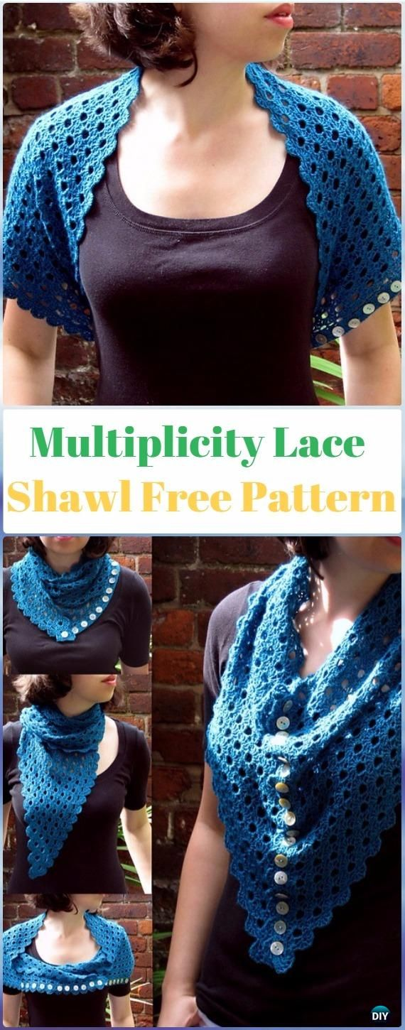 Crochet Multiplicity Lace Shawl Free Pattern-Crochet Women Shawl Sweater Outwear Free Patterns