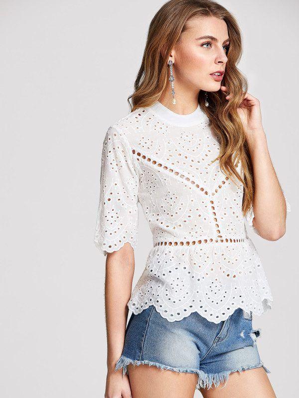 Catalogo Shein Primavera Verano 2020 Moda En Pasarela Blusas De Moda Modas De Vestidos Elegantes Tops Bordadas