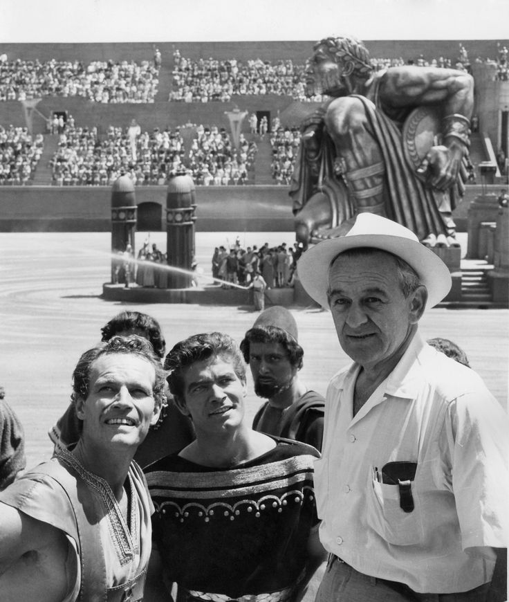 Charlton Heston, Stephen Boyd and director William Wyler, on the set of Ben-Hur, 1959