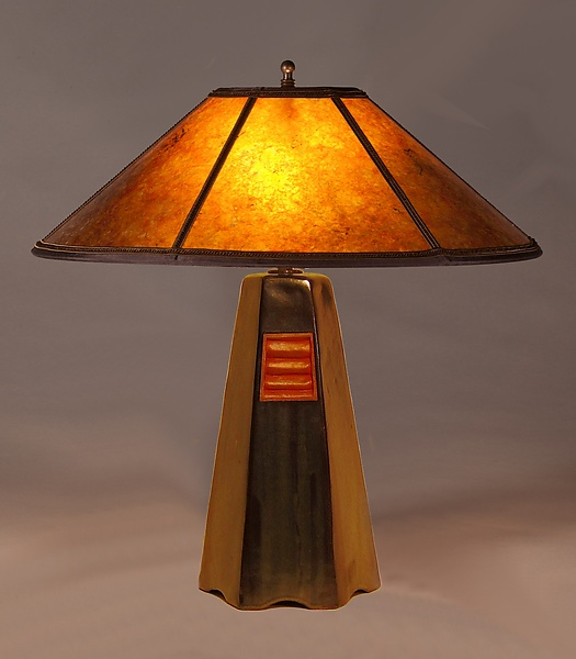 Ceramic table lamp created by jim webb one of a kind hand built stoneware table lamp in onyx glaze with amber mica shade