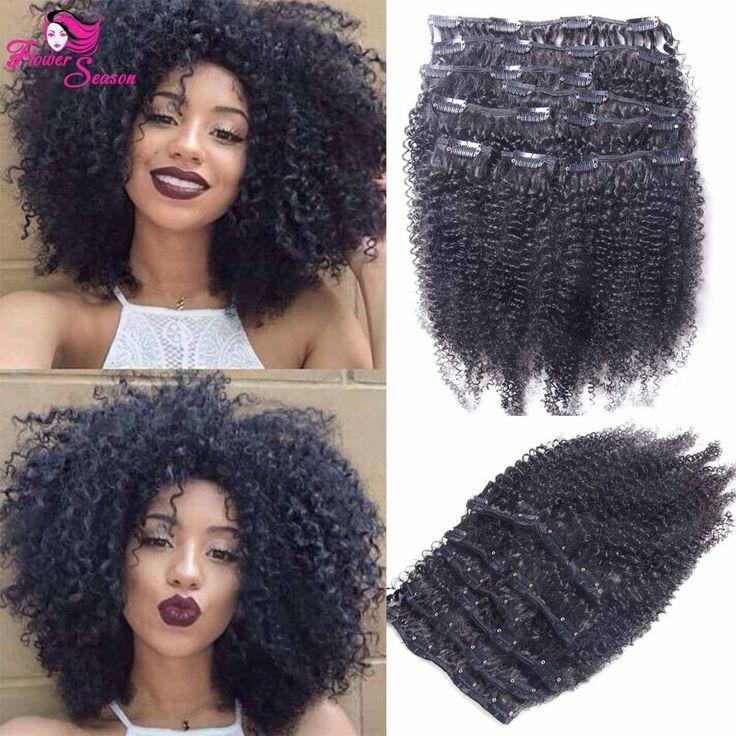 13 best luffywighair clip in hair extension images on pinterest afro clip in human hair extensions brazilian kinky curly full head set extention pmusecretfo Images