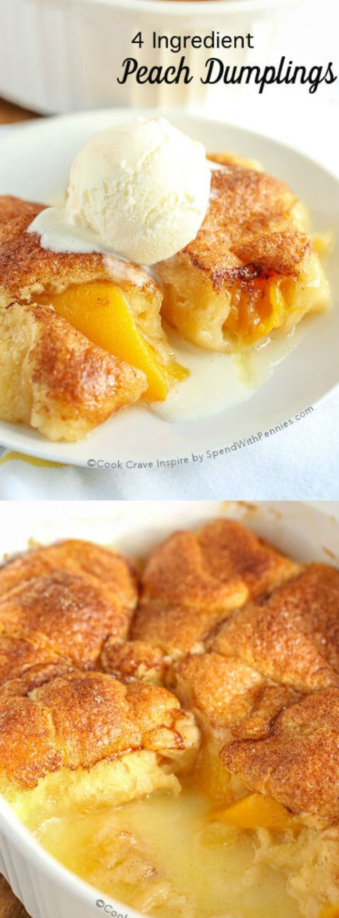 These 4 Ingredient Peach Dumplings from Spend with Pennies are the ultimate dessert! They come together in a flash and require only the simplest of ingredients, which you likely already have on hand in your pantry!