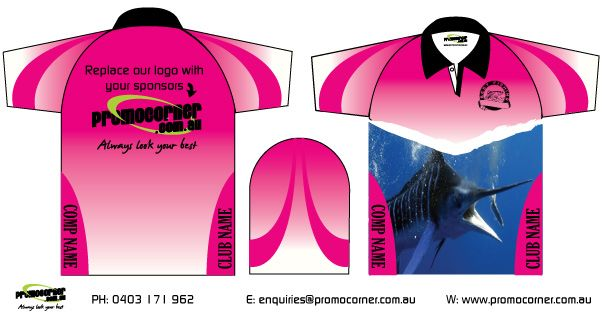 Ladies Fishing Shirts. Custom make these sublimated fishing shirts to your clubs tournament or weekend fishing trip. Fishing shirts are a fantastic way to remember that week away with your family or mates.  Call 0408 783 063 or e- enquiries@promocorner.com.au for more info.