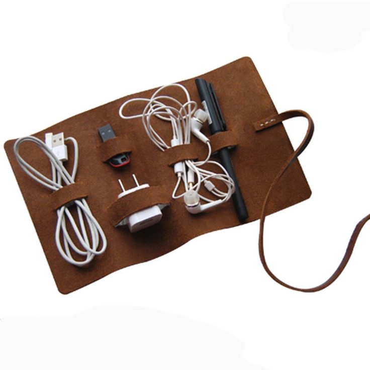 Handmade Genuine Leather Headphone Cable Organizer Charge Cable Storage Cord Wire Holder Multifunctional Digital Bag