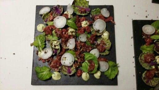 Tatar, mustard cale, brussel sprouts, tarragon mayo on olive and coco #paleo #stedsans #sørenwiuff #birkemosegaard #cleaneating #rawfoodthewayilikeit