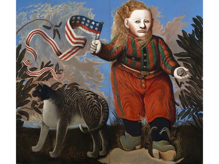 The American Boy, 1971, Oil on board, Size 21 x 24 cm, Glasgow Life (Glasgow Museums) on behalf of Glasgow City Council, © John Byrne / Bridgeman images source: http://wsimag.com/art/9967-john-byrne-sitting-ducks