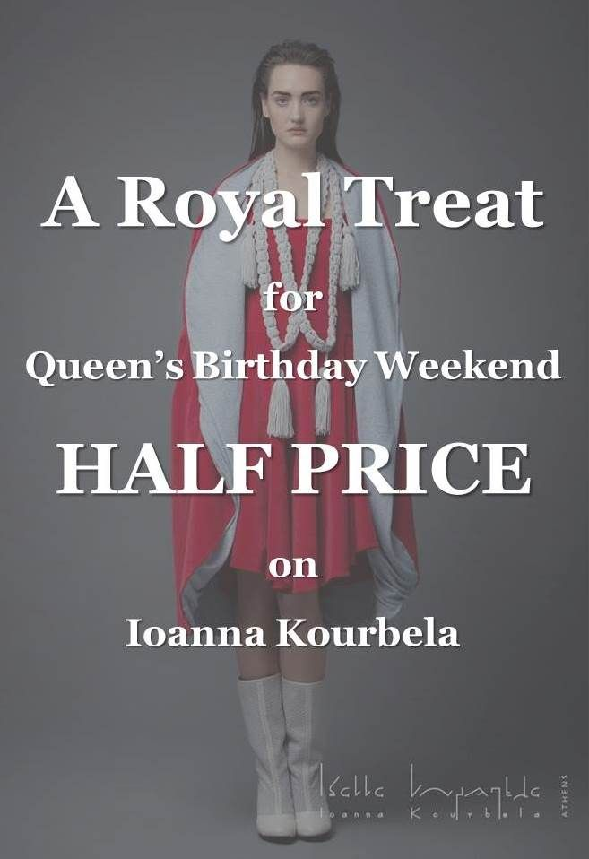 HALF PRICE at Designer Clothing Gallery for Queen's Birthday Weekend. phone (06) 304 8236 or email store@designerclothinggallery.co.nz