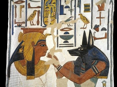 Egypt, Thebes (UNESCO World Heritage List, 1979) - Luxor - Valley of the Queens. Tomb of Nefertari. Burial chamber. Pillar. Mural paintings. Queen before god Anubis (Dynasty 19, Ramses II, 1290-1224 BC) (QV66 - 333509)