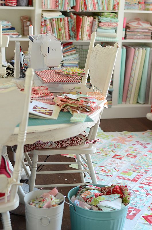 sewing room. Love the vintage buckets!!
