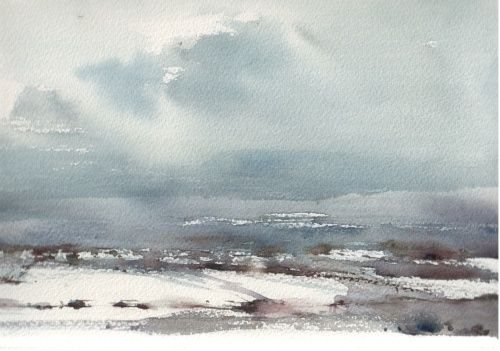 The Chilterns in snow - WetCanvas #watercolor jd