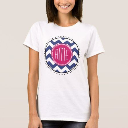Chevron Pattern with Monogram - Navy Magenta T-Shirt - tap, personalize, buy right now!
