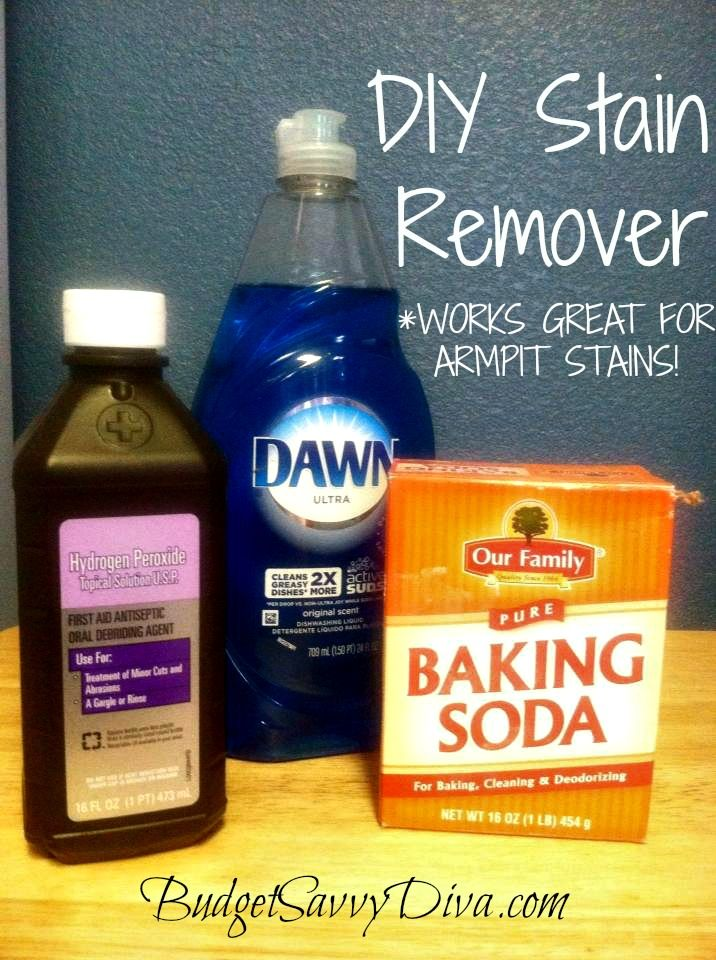 Use 1 tsp Dawn, 2 tbs baking soda and 3 tbs hydrogen peroxide, mix all, scrub on pit stains of shirt, wash and stains will be gone ... need to try this on Hubbys workout t's...