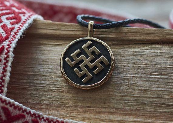 Latvian Thundercross and Usins pendant. Womens and mens bronze Baltic sign fylfot round pendant. Double sided bronze fylfot swastika pendant