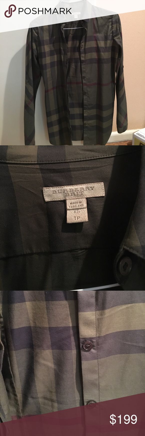 Burberry olive xs ladies button down This is an xs button down Burberry shirt. In excellent condition worn 2 or 3 times by myself. I have unfortunately grown to a size small 😩 Burberry Tops Blouses