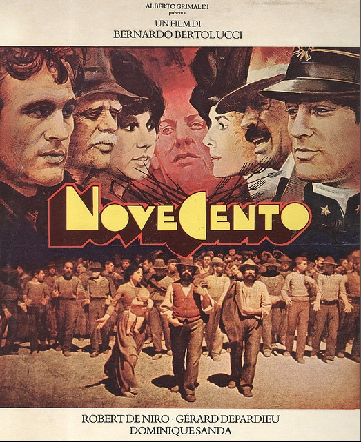 """Novecento - 1900  Italian movie publicity. Novecento / 1900, Bernardo Bertolucci, 1976.  The painting below the title is """"Il quarto stato"""", 1901, by Giuseppe Pellizza da Volpedo."""