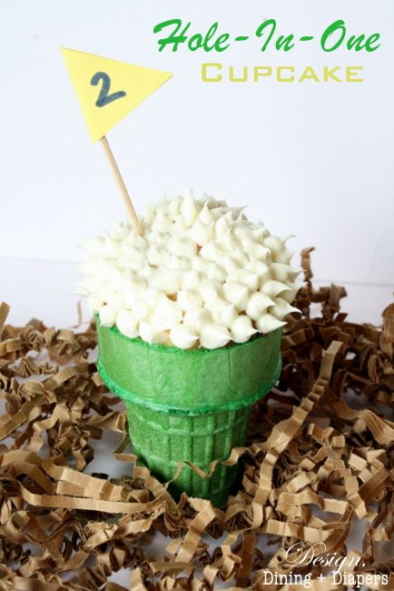 Hole-In-One Cupcakes: What a fun idea for Father's Day or for a Golf Party! via @Taryn H {Design, Dining + Diapers}: Hole In On Cupcakes, Golf Ball, Cupcakes For Father Day, Cupcakes Cones, Fun Ideas, Golf Parties, Father'S Day, Golf Cupcakes Ideas, Holeinon Cupcakes