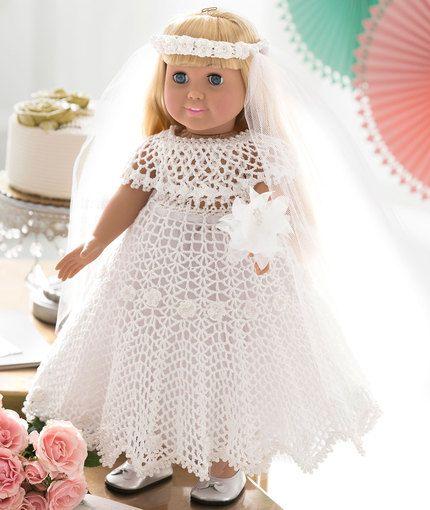 "18"" Doll Wedding Dress - free crochet pattern"
