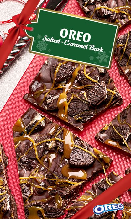 This chocolatey OREO Salted-Caramel Bark is a perfect addition to gift bags and stocking stuffers. Drizzled with melted caramel and full of chunks of OREO cookie, this delectable treat only takes 15 minutes to prep!