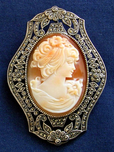 Cameo encased in a Marcasite frame brooch.
