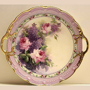 Lilac & Pink Roses Cake Plate Study, Paula Collins