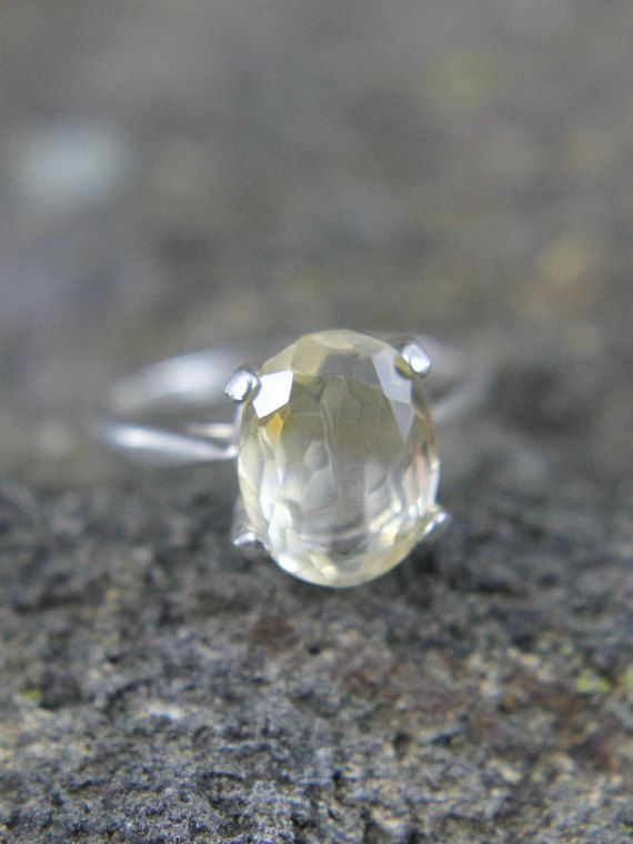 Lemon Quartz Gemstone Ring in a Dainty Sterling Silver Size 5 Setting