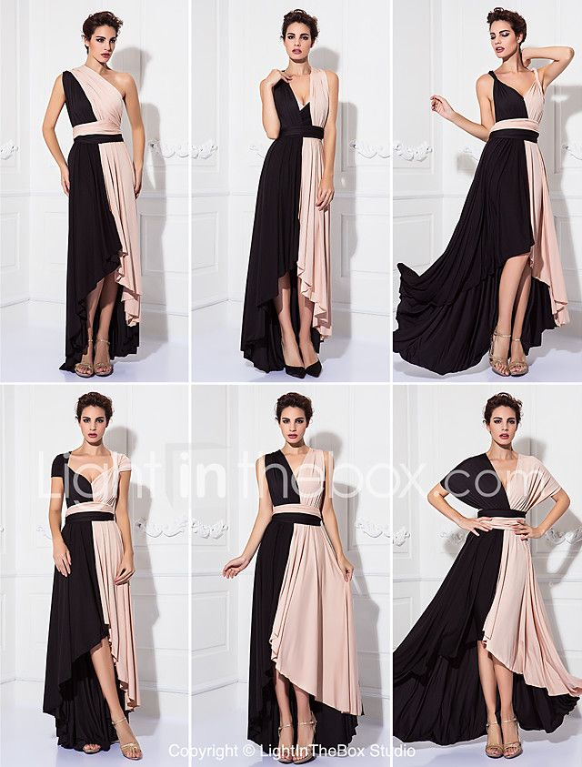 Sheath / Column V-neck Tea Length Knit Prom Formal Evening Military Ball Dress with Sash / Ribbon Pleats by TS Couture® 2018 - $79.99
