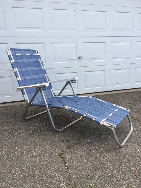 Vintage Aluminum Lounge Chair, Folding Aluminum Lounger - Patio Seating Sets