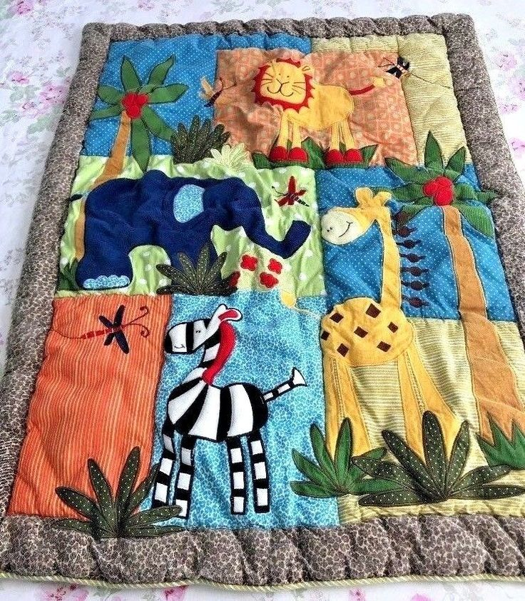 Baby Quilt Thick Blanket Applique Wild Animals 40 X 30 Colorful Jungle Fun Y16    eBay