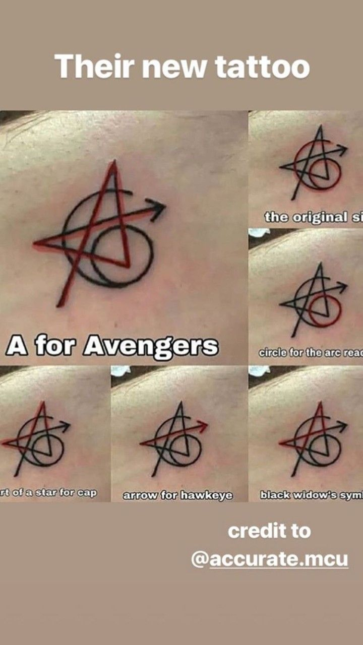 Original 6 Avengers Tattoo : original, avengers, tattoo, Avengers, Tattoos., Robert, Downey, Chris, Hemsworth,, Scarlett, Johansson,, Jermey, Renner,, Evans, Tattoo,, Avengers,, Marvel