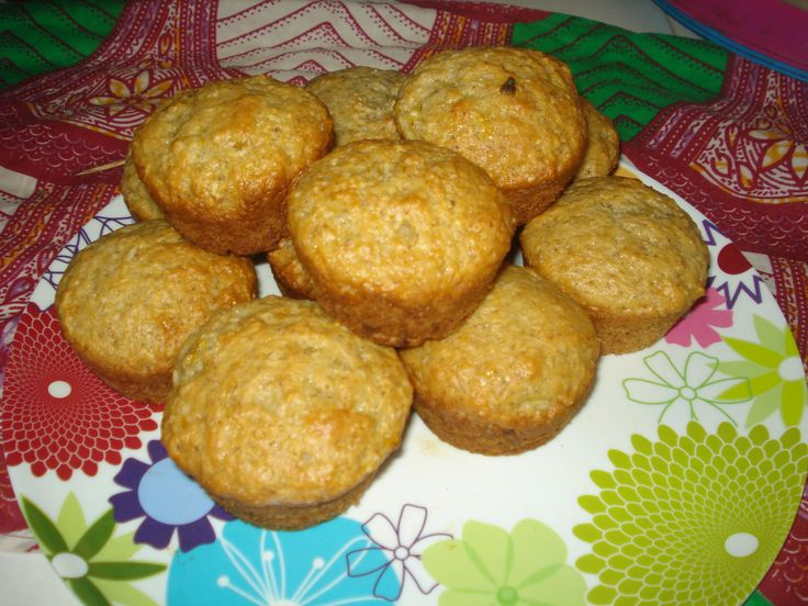 Banana Muffins made with local bananas (when ripe they remain green)