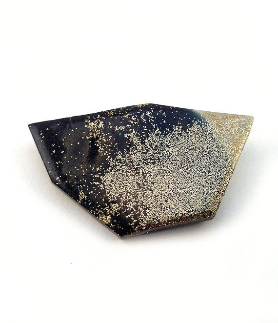Geometric minimal brooch // jewelry polymer and gold glitter // Absolute Magnitude