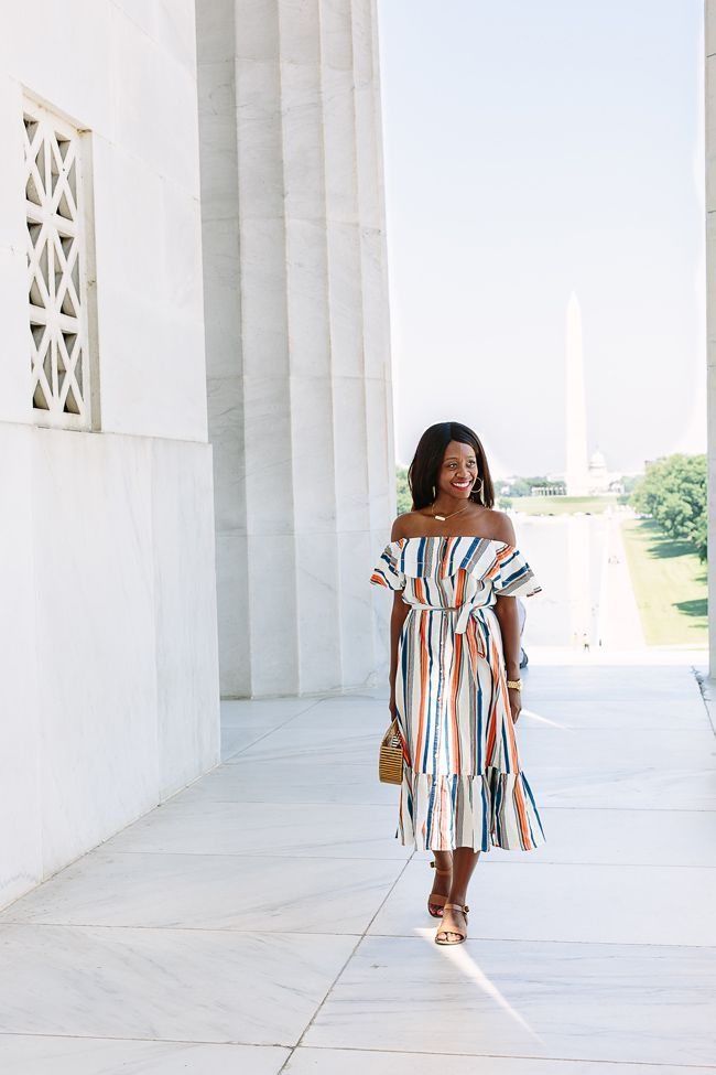 Blogger Alicia Tenise shares the struggles of shooting at the Lincoln Memorial, and a versatile off the shoulder striped dress from Moon River.