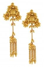 Tribebyamrapali-Silver Gold Plated Floral Tassel Rawa Drop Earrings