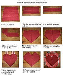Pliage en papier réaliser un coeur en papier,pliage de serviette de table en papier en forme de coeur, decoration de table, recettes de cuis...
