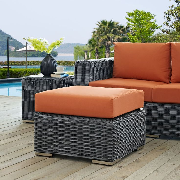 Modway Summon Wicker Outdoor Ottoman - EEI-1869-GRY-TUS